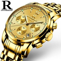 Mens luxury gold wristwatches male brand watches quartz man clock