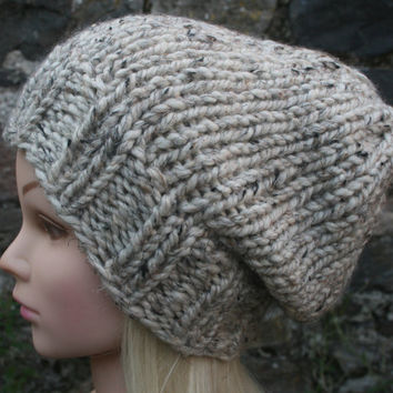Hand Knit Hat Women's hat- Cream tweed - Oatmeal- Rustic Mega Chunky with wool- slouchy hat