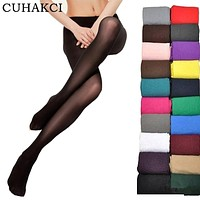 CUHAKCI 2017 Women Sexy Tights 20 D Seamless Pantyhose Candy Color Tights Opaque Collant Women 16 Colors Black Pantyhose