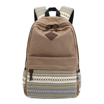 Unique Ethnic Rucksack Canvas College Backpack Travel Bag Daypack