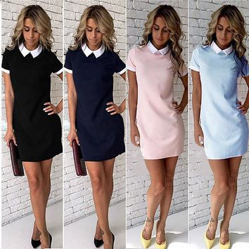 White Collar Summer Cute Peter Pan Collar School Preppy Style Short Sleeve Summer Mini Dresses Ladies Office Dress