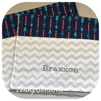 Arrow Burp Cloths ~ Minky ~ Navy and Aqua ~ Personalized w/ Name or Monogram ~ Gender Neutral ~ Baby Shower Gift ~ Set of 2