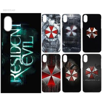 BINYEAE Fashion Case Cover Clear Hard PC Plastic for iPhone 7 8 6 6s Plus X 5 5s SE 5C 4 4S 4 Resident Evil Umbrella