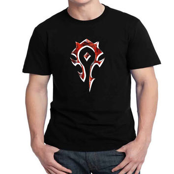 For The Horde  Logo Mens T-shirt Black and White