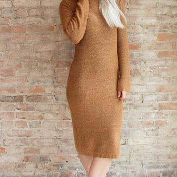 Alexxa Mock Neck Sweater Dress - camel