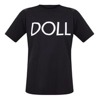 Black Doll Slogan Oversized T Shirt