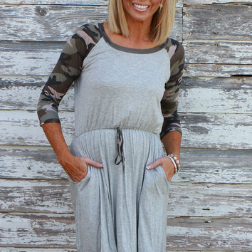 Catch My Attention Camo Accented Dress With Pockets ~ Heather Gray ~ Sizes 4-10