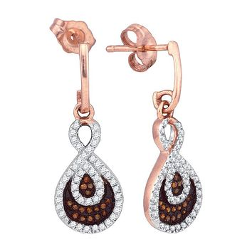 10kt Rose Gold Womens Round Red Colored Diamond Teardrop Dangle Earrings 3/8 Cttw
