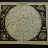 """160+ years old ASTRONOMY print - antique star chart poster with pictures of the southern sky constellation zodiac signs hemisphere - 9x12"""""""