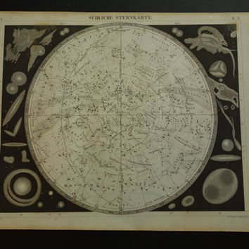 160+ years old ASTRONOMY print - antique star chart poster with pictures of the southern sky constellation zodiac signs hemisphere - 9x12""