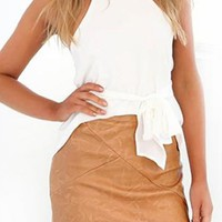 On Short Notice Light Brown Faux Leather High Waist Bodycon Pencil Mini Skirt