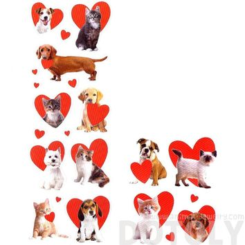 Realistic Kitty Cat and Puppy Dog Pet Animal Themed Heart Shaped Photo Stickers | 78 Stickers
