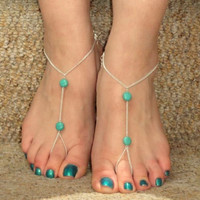 SL076 factory direct selling summer explosion models in Europe and America bohemian retro turquoise and even toe anklet