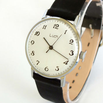 White Dial Thin Mens Watch LUCH. Vintage Unisex Mechanical Wrist Watch. Ultra Slim Watch 23 Jewels. Dress Watch 80s.  USSR Watches For Men