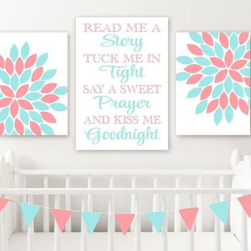 Aqua Coral Flower Quote Wall Art, Coral Aqua Girl Nursery Wall Decor CANVAS or Prints Read Me a Story Kiss Me Goodnight Set of 3 Pictures