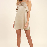 Spice Twirl Light Beige Satin Dress