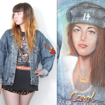 Vintage 80s 90s // Levi's Spray Paint Denim Jacket // Harley Davidson Motorcycle // Biker Babe // Oversized // One Size / Small Medium Large