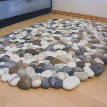 Felt Stone Rug Wool Super Soft With Core Multicolor