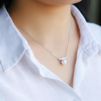 Simple shell pearl 925 sterling silver necklace, a perfect gift