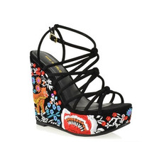 Graphic Stappy Fashion Wedges