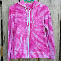Pink Tie Dye  Long Sleeve Zip Up Hoodie,  Women's Small, Hippie,  T-shirt Hoodie, Festival,  Ready to Ship