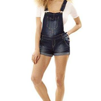 Women's Juniors Denim Shortalls Wall Flower