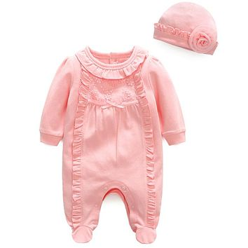 Fashion Princess Baby Girl Romper With Flower Hat Newborn Long Sleeve Infant Jumpsuits Soft Cotton Baby Clothes