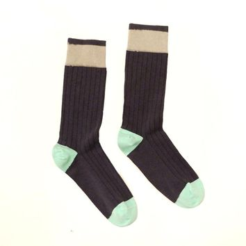 Solid Charcoal Grey with Mint Blue Tipping Socks