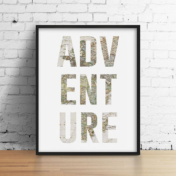 Adventure Typography Print. Vintage World Map. Vintage Inspired Art. Travel Poster. Office Art. Modern Wall Art.