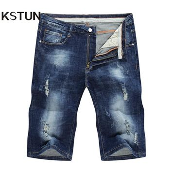 KSTUN Jeans mens stretch shorts ripped torn distressed denim pants cargo jeans skinny joggers knee length trousers justin peppe