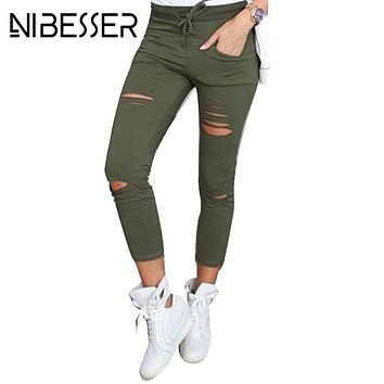NIBESSER Skinny Pant Women Sexy Holes Knee Pencil Pant Summer Female High Waist Casual Trouser Stretch Ripped Jeans Plus SizeZ30