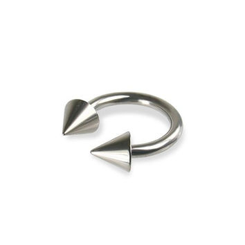 Silver Titanium G23 12mm Circular Barbell 14g 5mm Cones Horseshoe Eyebrows Earring Ring
