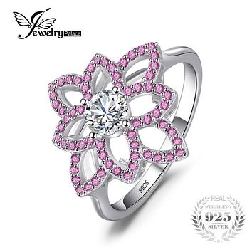 JewelryPalace Brand 0.77 ct Created Pink Sapphire CZ Flower Ring 925 Sterling Silver Wedding Party Fine Jewelry For Women Gift