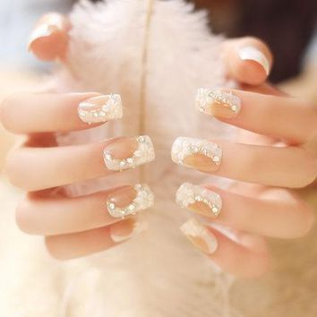 Twill Flower With Five Petals False Nails 24pcs/set