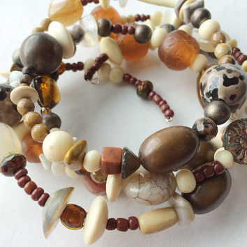 Boho Bracelet Earth Woman Natural elements stones shells bone beads hippie mama browns rusts off white wrap bracelet