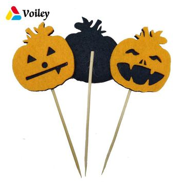 VOILEY 5pcs Halloween Party Pumpkin Cupcake Topper Baker Bamboo Sign Baby Shower Favors Wedding Birthday Party Decor  Supplies,5