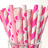 Princess Pink Short Paper Straws, 50 Hot/Light Pink Striped CAKE POP Party Birthday Bachelorette Short Cocktail Straw 5""