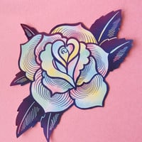 Large Psychedelic Tattoo Rose Sticker