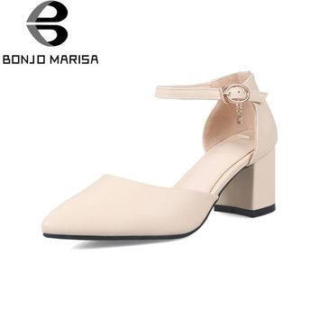 BONJOMARISA Women's Ankle Strap High Heels Party Wedding Summer Shoes Woman Pointed Toe Less Platform Pumps Big Size 33-42