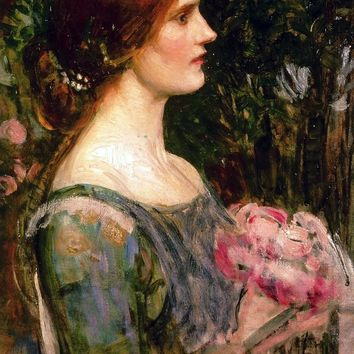 Neo Classical figurative painting canvas portrait poster beauty picture giant picture home modern art lady with flowers