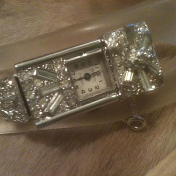 LEDO WATCH BRACELET Polcini Art Deco Rhinestones Swiss Made