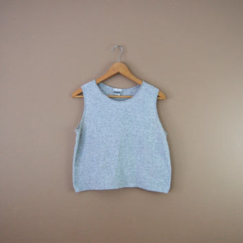 90s Sleeveless Tee - 90s Minimalist Shirt Sleeveless Sweater Tank 90s Crop Top Cotton Shirt Sleeveless Blouse Grey Shirt Slouchy Tee