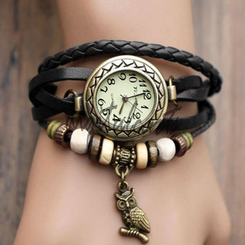 Women Leather Wrist Watch Bracelet Retro Owl Pendant Weave Wrap Quartz 19429 (Color: Green) = 1712759556