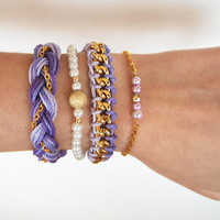 Lavender bracelet stack, arm candy, set of bracelets