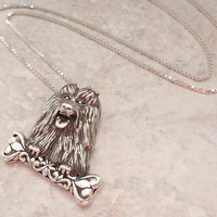 Shih Tzu Dog Necklace Sterling Silver Yorkie Lhasa Apso Bone Vintage V0777