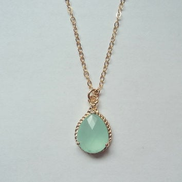 Mint aquamarine glass and gold tear drop pendant gold fill chain necklace.  Everyday.  Bridal.  Classic.  NEW ITEM