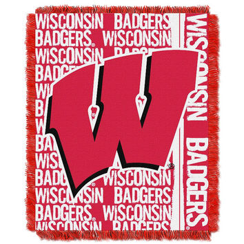 Wisconsin Badgers NCAA Triple Woven Jacquard Throw (Double Play Series) (48x60)
