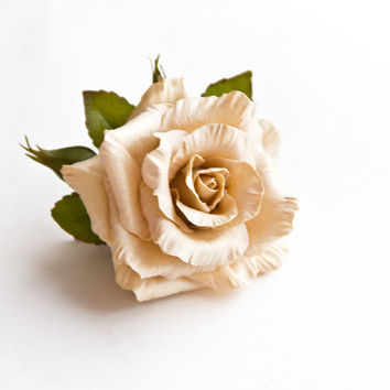 Handmade Beige Rose Brooch Polymer Clay From Jewelryfloren On