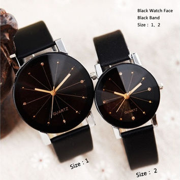 New Arrival Men Luxury Analog Quartz Dial Clock Leather Fashion Round Case Wrist Watch