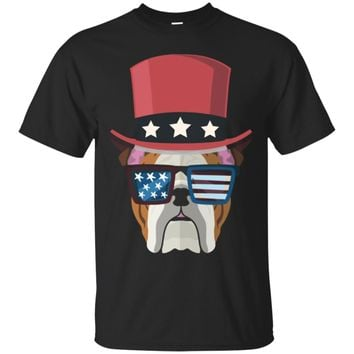 Bulldog with hat and sunglass Us Flag Funny 4th of July Tee_Black